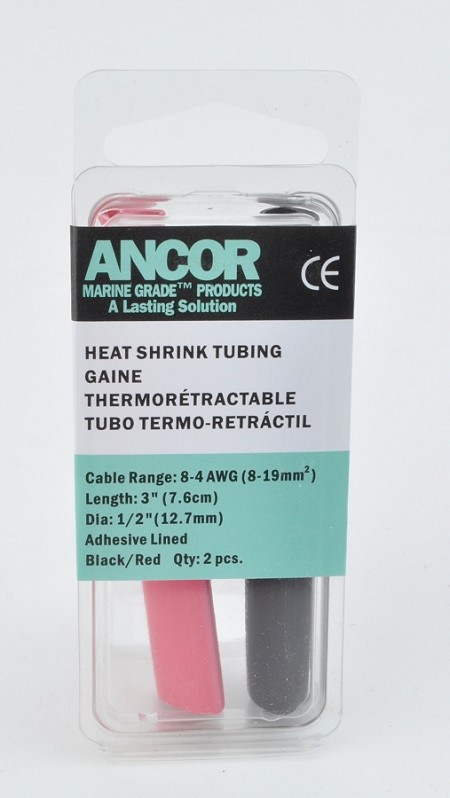 "Ancor 305602 Adhesive Lined Heat Shrink Tubing Kit - 2 pieces 3"" long x 1/2"" diameter - red/black"